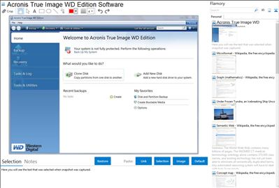 Acronis True Image WD Edition Software - Flamory bookmarks and screenshots