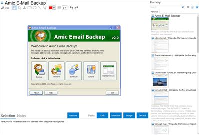 Amic E-Mail Backup - Flamory bookmarks and screenshots