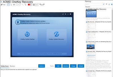 AOMEI OneKey Recovery - Flamory bookmarks and screenshots