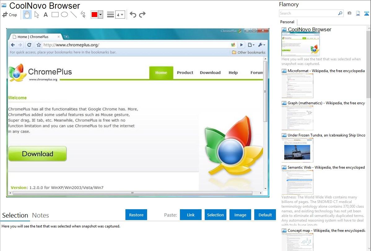 CoolNovo Browser integration with Flamory