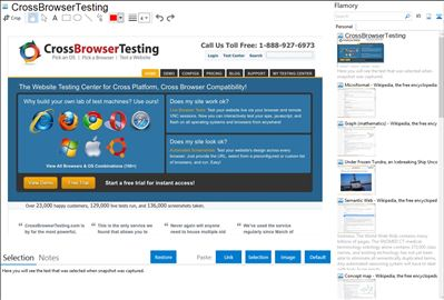 CrossBrowserTesting - Flamory bookmarks and screenshots