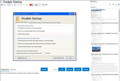 Disable Startup - Flamory bookmarks and screenshots