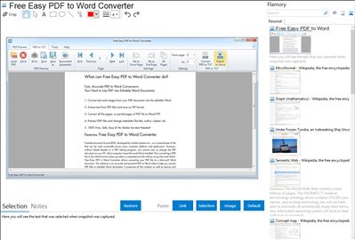 Free Easy PDF to Word Converter - Flamory bookmarks and screenshots