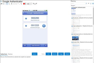 Google Authenticator - Flamory bookmarks and screenshots