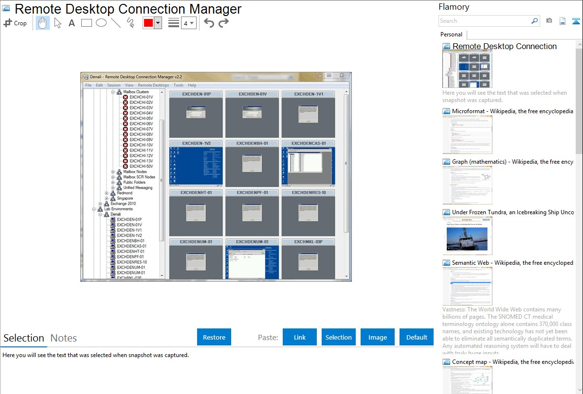 Remote Desktop Connection Manager integration with Flamory
