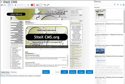 SiteX CMS - Flamory bookmarks and screenshots