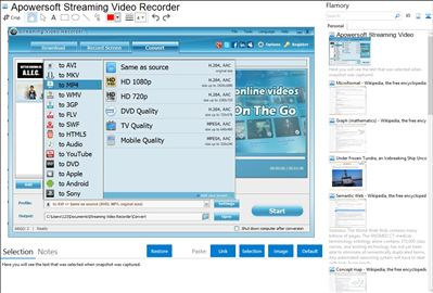 Apowersoft Streaming Video Recorder - Flamory bookmarks and screenshots