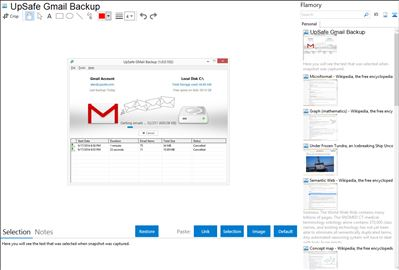 UpSafe Gmail Backup - Flamory bookmarks and screenshots