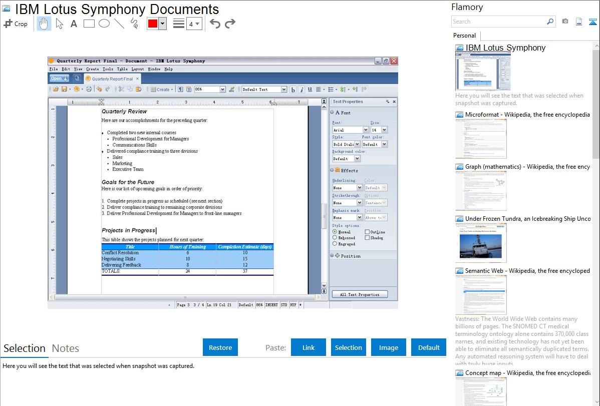 IBM Lotus Symphony Documents integration with Flamory