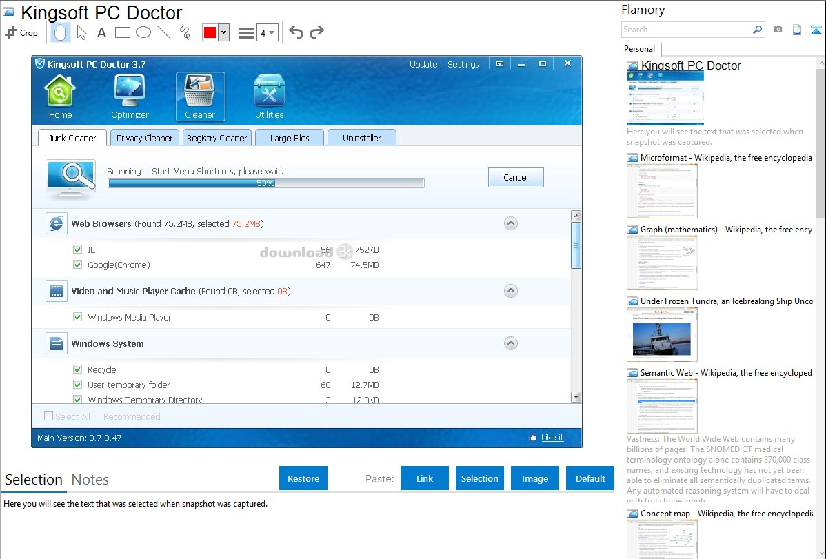 Kingsoft PC Doctor integration with Flamory