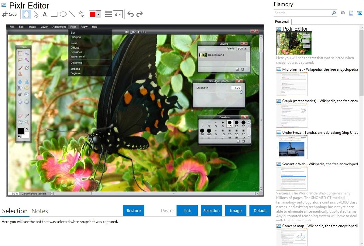 Pixlr Editor integration with Flamory